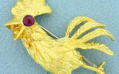Custom Designed Ruby Chicken Pin in 18K Yellow Gold