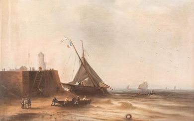 DUTCH 2nd h. 19th C. Pair of paintings. Boats taking