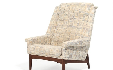 Danish furniture design: Easy chair with teak frame, upholstered with patterned fabric. 1960s.