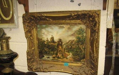 Decorative Gilt Framed Picture of Horses in a Castle Entranc...