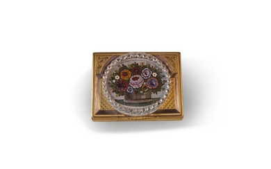 Diamond Set Micro Mosaic and Gold Snuff Box