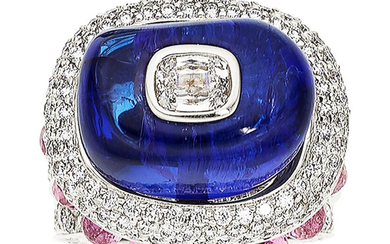 Diamond, Tanzanite, Pink Sapphire, White Gold Ring The ring...