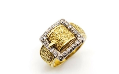 Diamond and 18ct yellow gold buckle ring marked to interior....