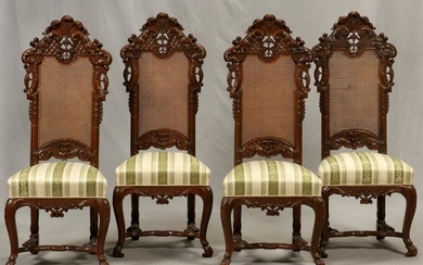 ENGLISH, CARVED WALNUT CHAIRS, SET OF 4