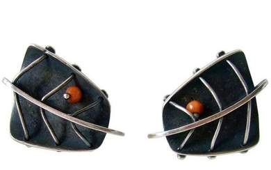 Ed Wiener Coral Sterling Silver Abstract American Modernist Earrings