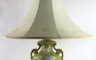 "FINE 32"" FRENCH HAND PAINTED PORCELAIN LAMP"