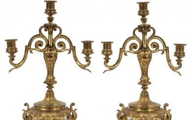 "FRENCH BRONZE CANDLEABRAS 19TH.C. PAIR H 14"" W 9"""