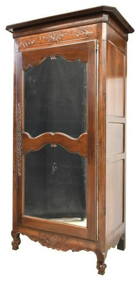 FRENCH PROVINCIAL WALNUT MIRRORED-DOOR ARMOIRE
