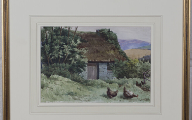 Follower of John Gutteridge Sykes - Chickens outside a Thatched Cottage, watercolour, 17cm x 24.5cm