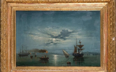 "GADITAN SCHOOL 19th century ""Cadiz landscapes"" 1881. Pair of oil paintings on canvas. Signed and dated in Cadiz ""A. G. Lobafon?"" Measurements: 40 x 47 cm. each. Price: 500 Euros. (83.193 Ptas.)"