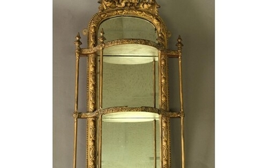 GILT GESSO MIRRORED WALL SHELF early/mid 19th century, the t...
