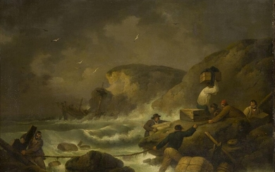 George Morland, British 1763-1804- Saving the Remains of a Wreck,...