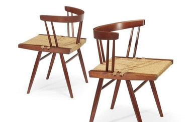 """George Nakashima (American, 1905-1990) A Pair of """"Grass-Seated"""" Chairs,..."""