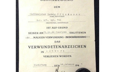 German WW2 Wound badge in black, and certificate.Black Nazi ...