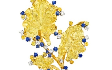 Gold, Sapphire, Yellow Sapphire and Diamond Leaf Brooch