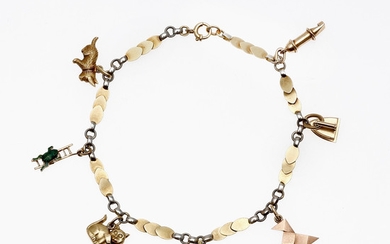 Gold bracelet with charms.