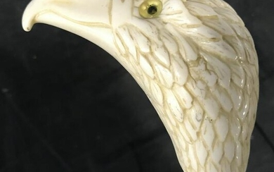 Hand Carved Bone Style Raven Head Cane