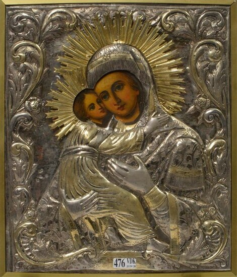 """Icon painted on wood representing a """"Virgin and..."""