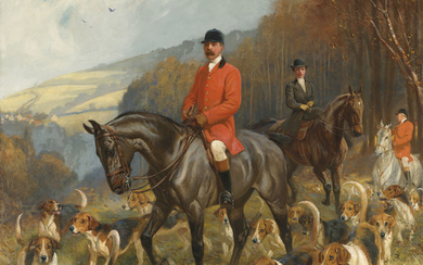 John Charlton, R.I., R.B.A. (1849-1917), Mr & Mrs Lewis Priestman on hunters with the Braes of Derwent hunt, in a landscape