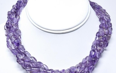 Kenneth Lane Signed Amethyst Necklace w 550 Carats