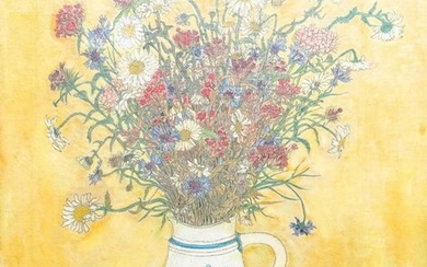 Kho Kiem Bing (Vietnam, 1917 ), ink and oil on canvas: A still life of flowers in a Westerwald jug, dated 1944