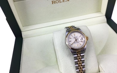 LADY'S ROLEX OYSTER PERPETUAL DATEJUST STAINLESS STEEL BI COLOUR...
