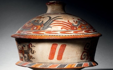 LID VASE WITH POLYCHROME