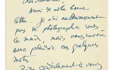 LIPCHITZ, JACQUES. Brief Autograph Letter Signed, Lipchitz, to Dear Sir, in French