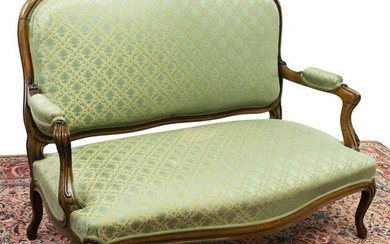 LOUIS XV STYLE UPHOLSTERED WALNUT SETTEE SOFA