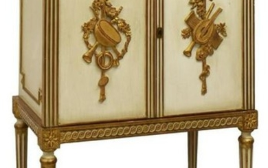 LOUIS XVI STYLE MARBLE-TOP PAINTED BAR CABINET