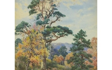 Landscape with trees, 19th century watercolour, part label v...