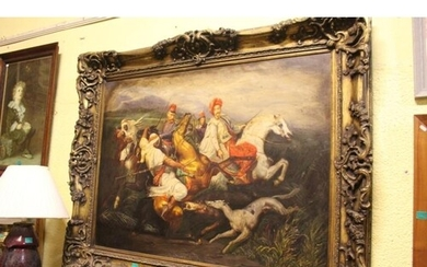 Large Picture of a Hunting Scene on Canvas in a good Decorat...