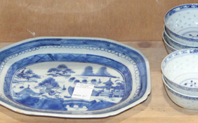 (Lot of 18) A group of Chinese blue and white dish Wares
