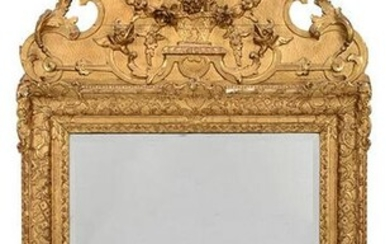 Louis XVI Style Relief Decorated Giltwood Mirror