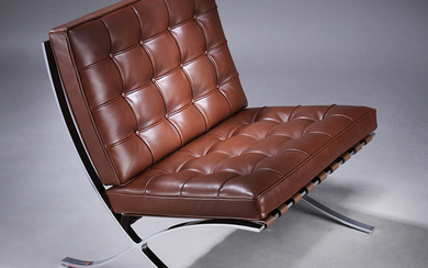 Ludwig Mies van der Rohe. 'Barcelona Chair' lounge chair, brown leather