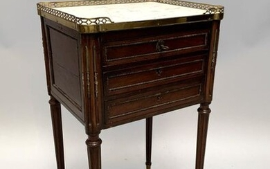 Mahogany veneer CHIFFONNIERE TABLE opening by three drawers in front,...