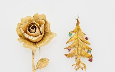Merrin Paris Gold, Diamond, Ruby and Emerald Christmas Tree Brooch and Gubelin Gold and Diamond Rose Clip-Brooch