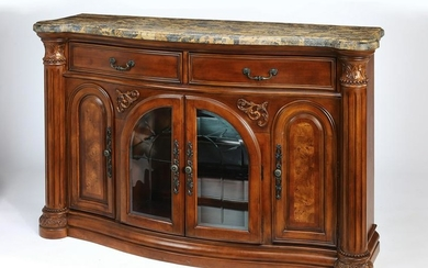 Michael Amini marble top parquetry buffet