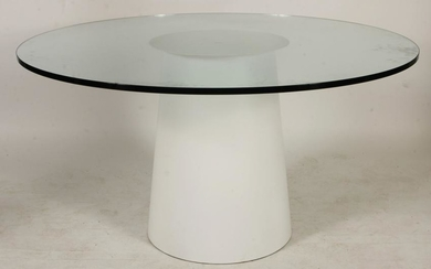 Modern Glass/Laminated Metal Dining Table