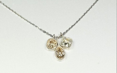 Necklace in 18K (750/oo) white gold with 3...