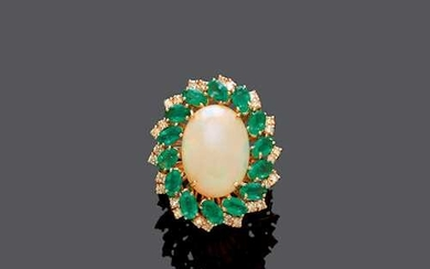 OPAL, EMERALD AND DIAMOND RING.
