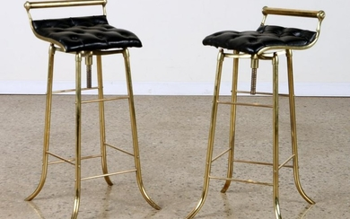 PAIR BRONZE AND LEATHER BAR STOOLS CIRCA 1950