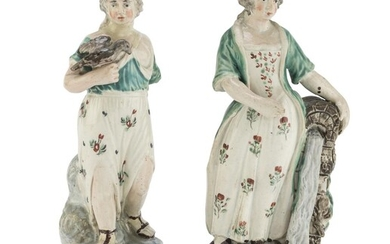 PAIR OF EARTHENWARE FIGURES NEO-CLASSIC PERIOD ENGLAND