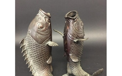 PAIR OF JAPANESE BRONZE LEAPING CARP VASES, Meiji or 20th ce...