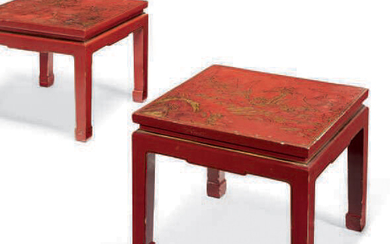 ■ PAIR OF LOW TABLES 20th CENTURY