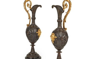 PAIR OF RENAISSANCE STYLE PATINATED AND GILT BRONZE