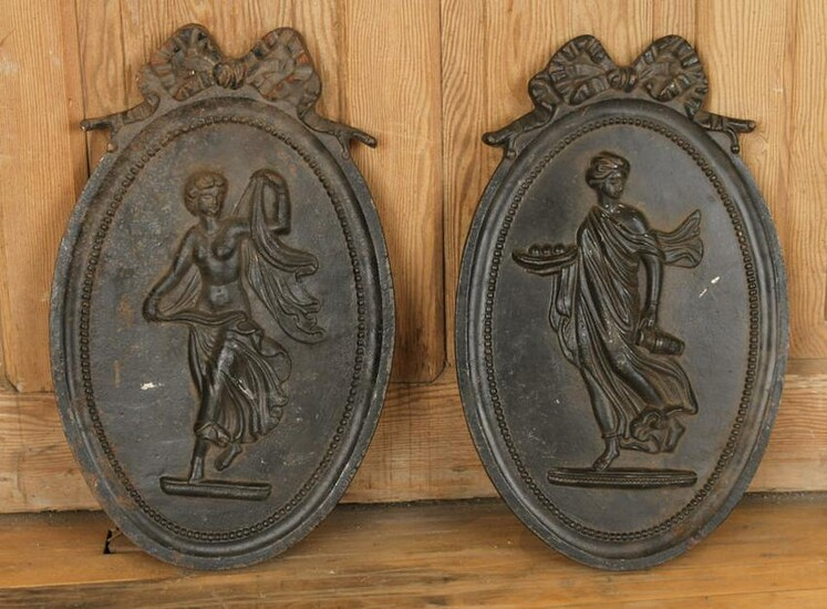 PAIR OVAL CAST IRON PLAQUES DANCING WOMEN