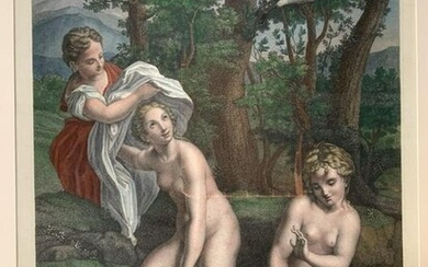 Painted Engraving Leda and the Swan
