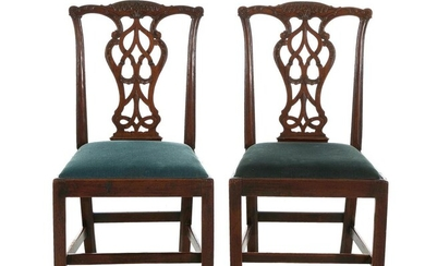 Pair Chippendale carved mahogany side chairs (2pcs)
