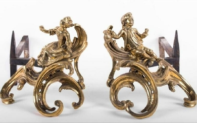 Pair Of French Rococo Gilt Bronze Figural Chenets